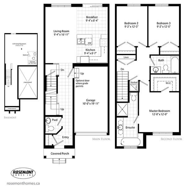 Shoreview place new construction townhomes in stoney House floor plans ontario